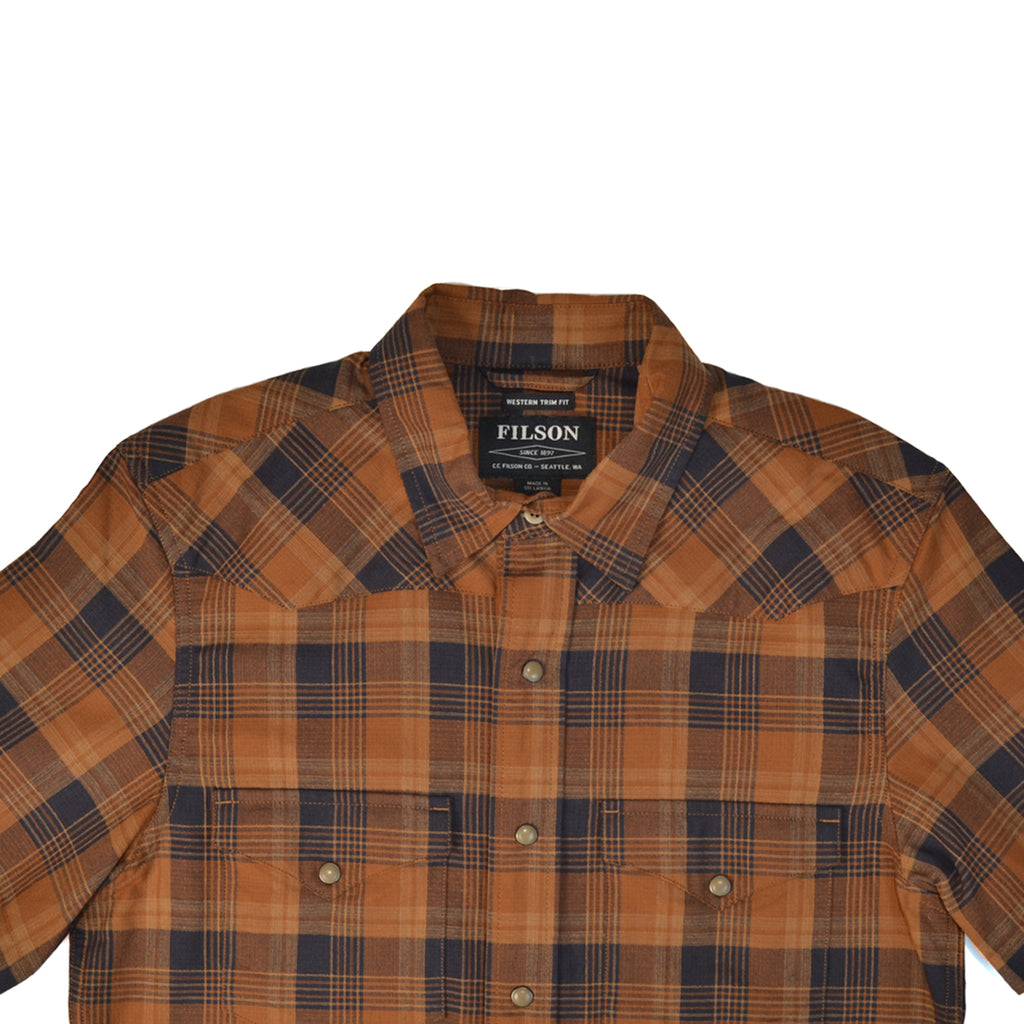 FILSON S/S SNAP FRONT GUIDE SHIRT - BRONZE & NAVY