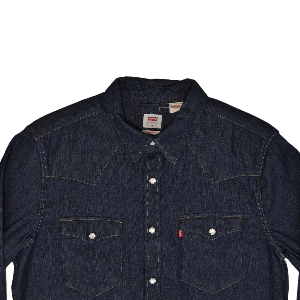 BARSTOW WESTERN SHIRT - MARBLE RED CAST RINSE BLUE