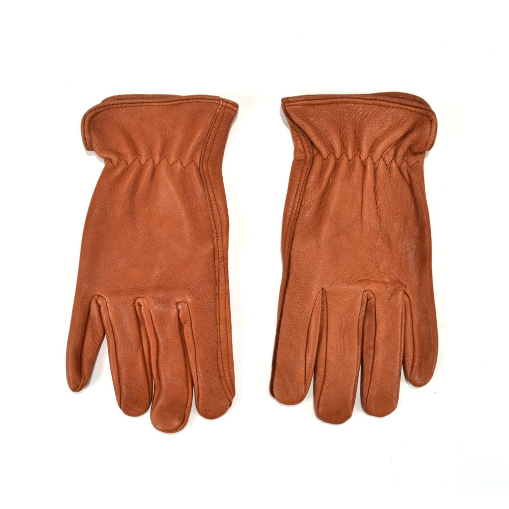 DEERSKIN DRIVER UNLINED GLOVES - BROWN