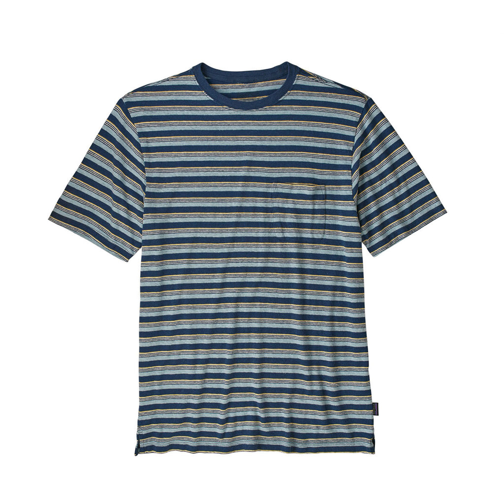 TRAIL HARBOR POCKET TEE - TIDAL STRIPE, STONE BLUE