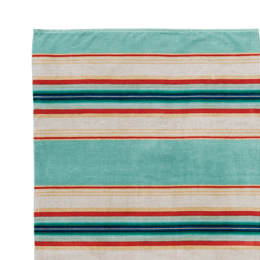 SERAPE STRIPE SPA TOWEL - AQUA