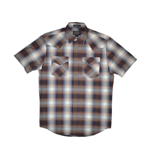 S/S FRONTIER - BLUE & BROWN PLAID