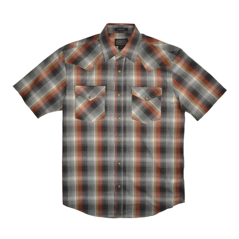 S/S FRONTIER SHIRT - GREY & RUST PLAID
