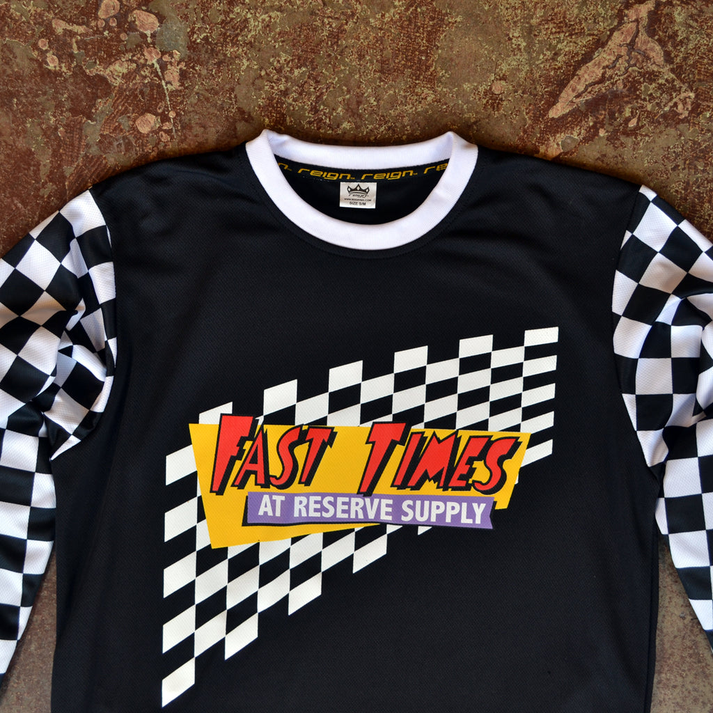FAST TIMES MOTO JERSEY - BLACK & WHITE CHECKER