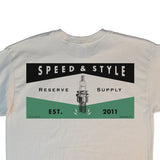 RESERVE SUPPLY COMPANY SPARK PLUG TEE - OFF WHITE & GREEN