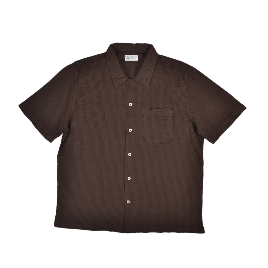 S/S ROAD SHIRT - BROWN SEERSUCKER BENGAL