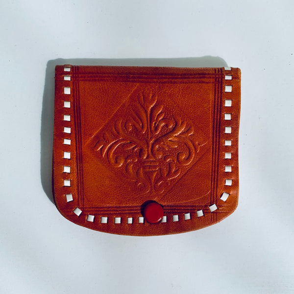 Leather wallet with embossed decoration