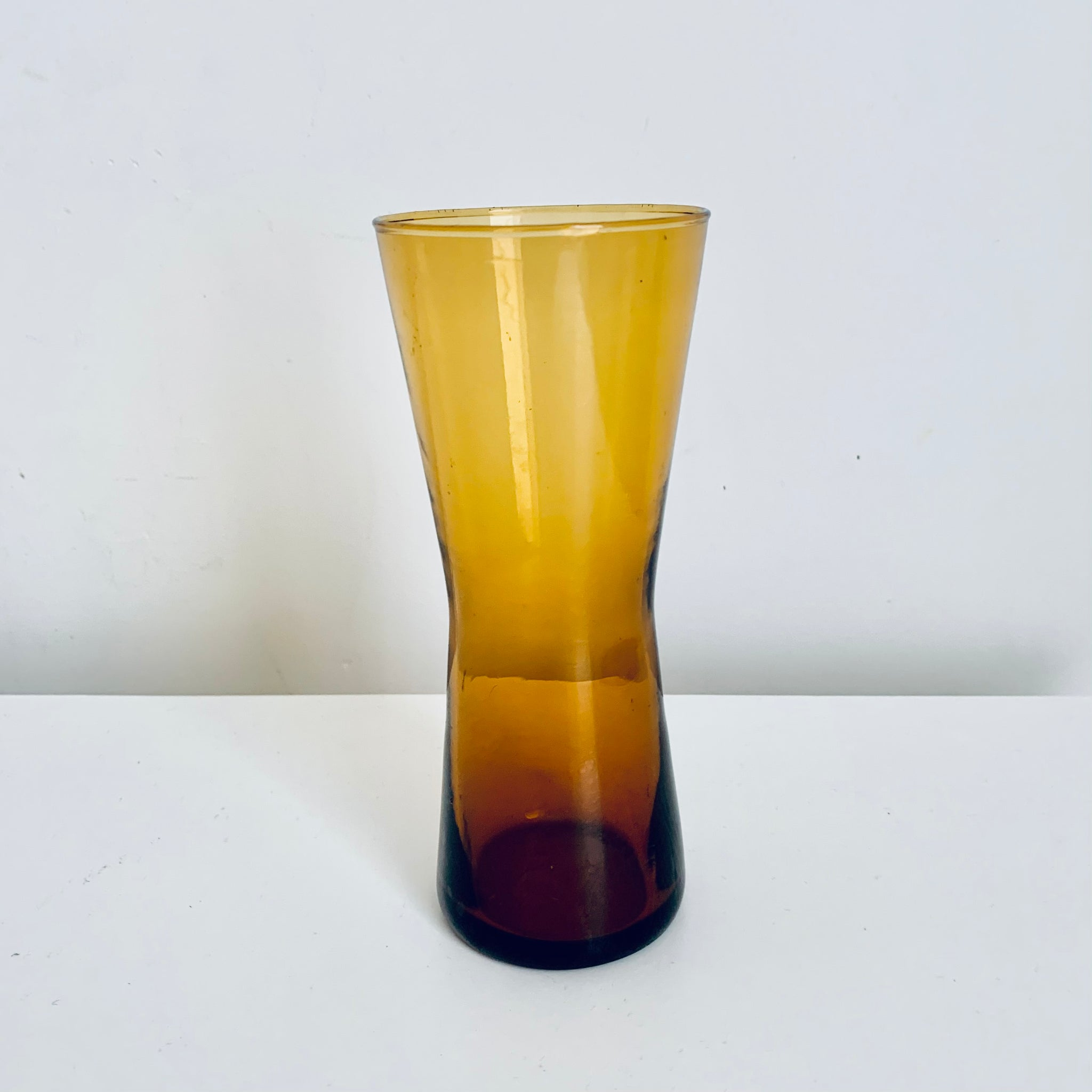Glass amber colored vase