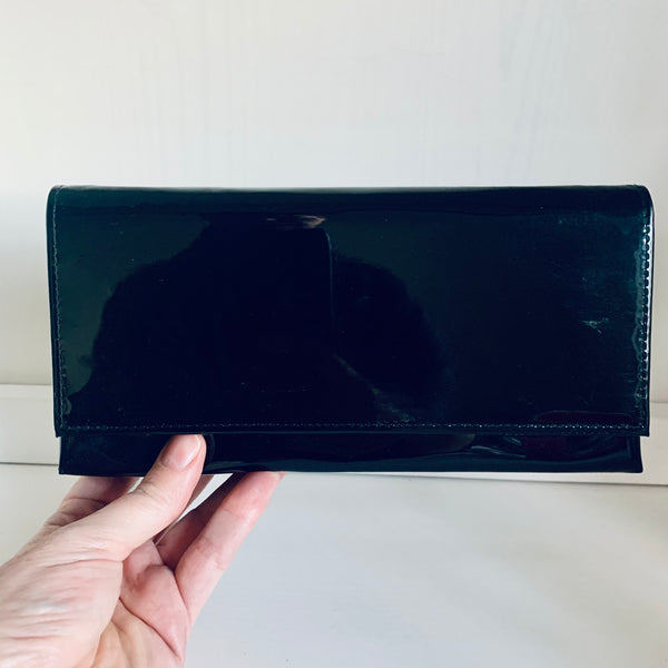 Black patent leather evening bag