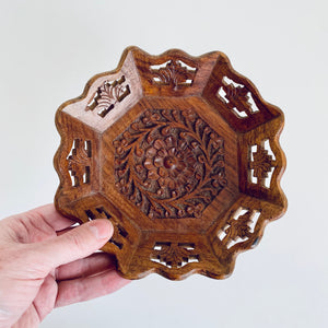 Wooden hand carved dish