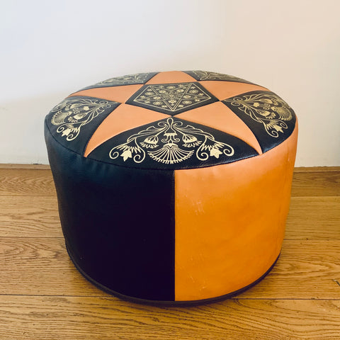 Bohemian pouf with metallic gold decoration