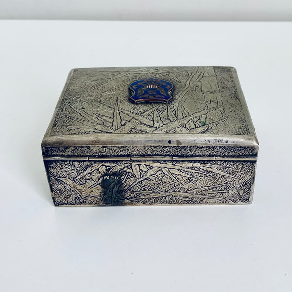 Silver cigarette or playing cards box