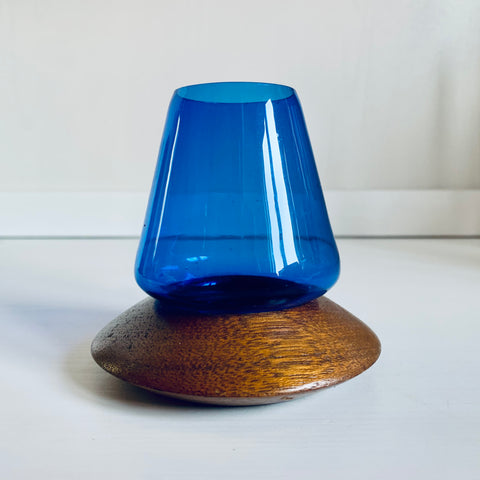 Wooden & colored glass candle holder