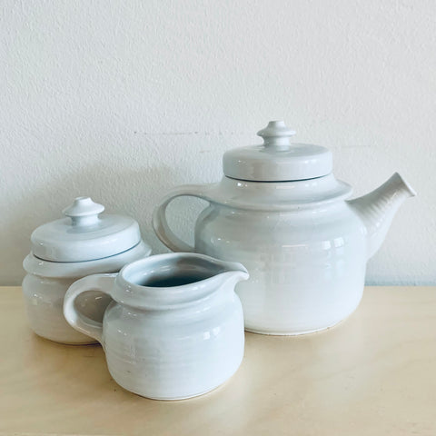 Arabia tea pot, sugar bowl and cream jug