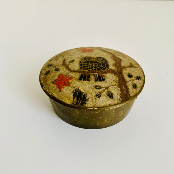 Brass trinket box with owls