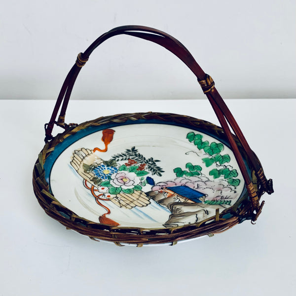 Japanese plate with wicker basket