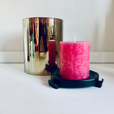 Glass candle holder with metal stand