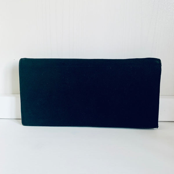 Black suede leather evening bag