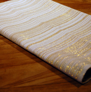 White and gold lurex table runner