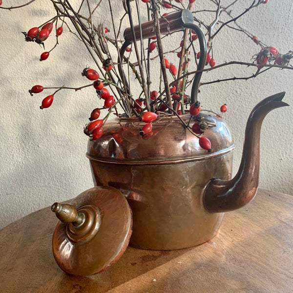 Antique red copper kettle