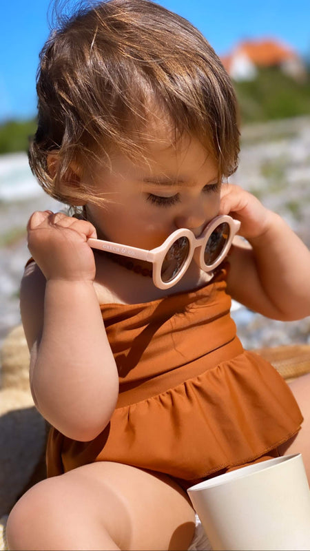 Sustainable Kids Sunglasses with Matte Finish in Shell by Grech & Co.