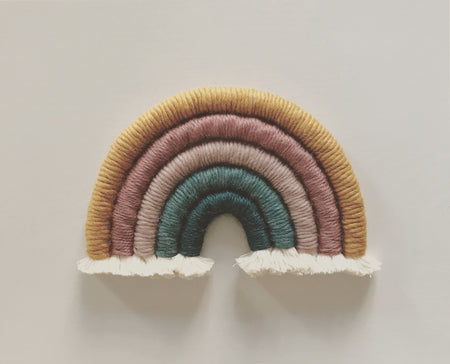 Large Rainbow Fibre Wall Hanging in 5 Colours by The Pink Moon Studio