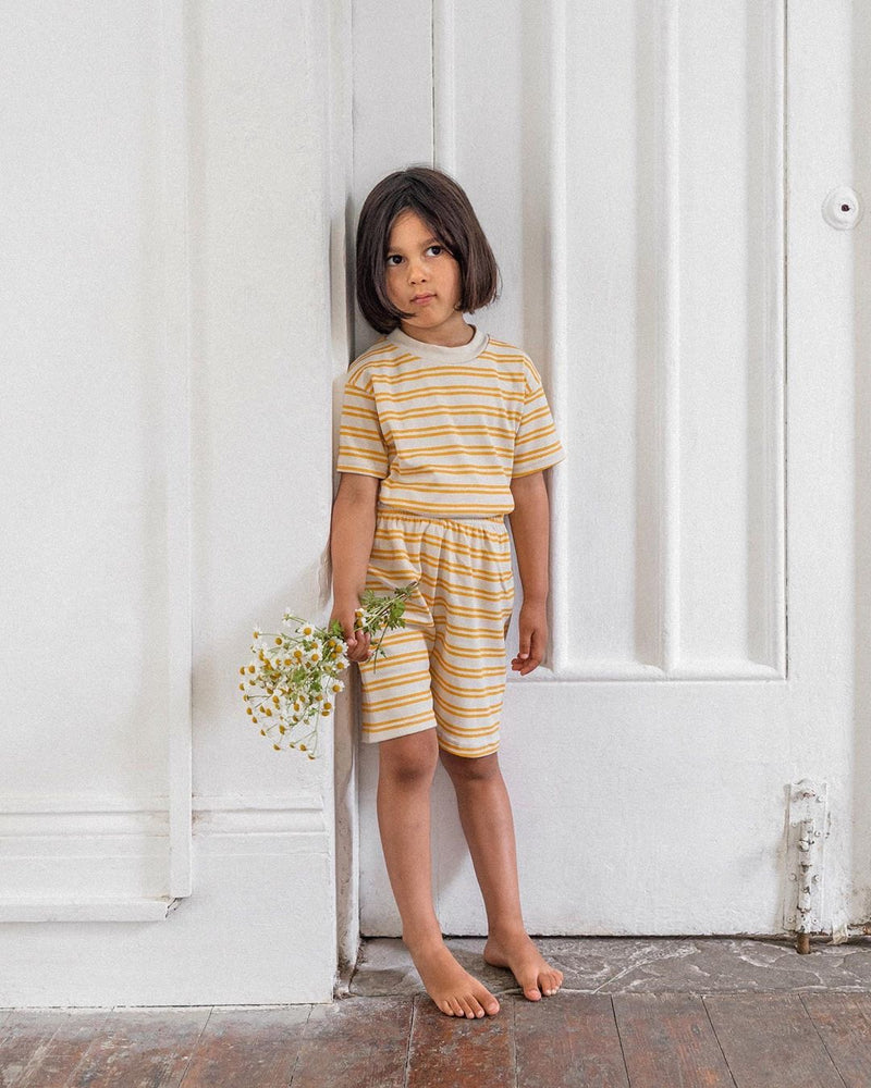 Kids Short & Tee Set in Sand Stripe by Sleepy Doe