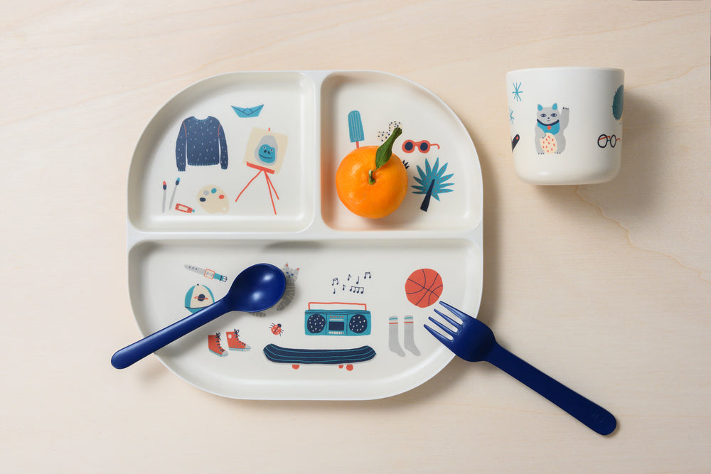 Illustrated Bamboo Kid Dinner Set | Royal Blue