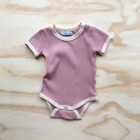 Retro Ringer Ribbed Bodysuit - Musk Pink by bel & bow