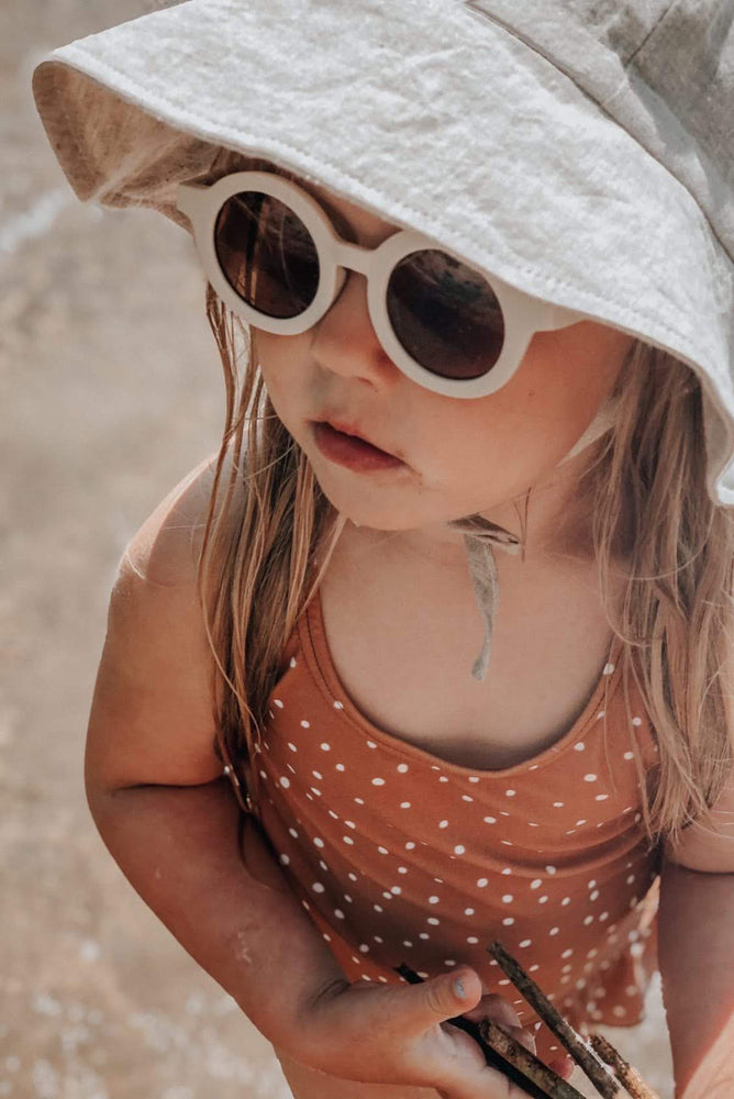 Sustainable Kids Sunglasses with Matte Finish in Buff by Grech & Co.