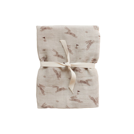 Rabbits Muslin Swaddle Blanket by Main Sauvage