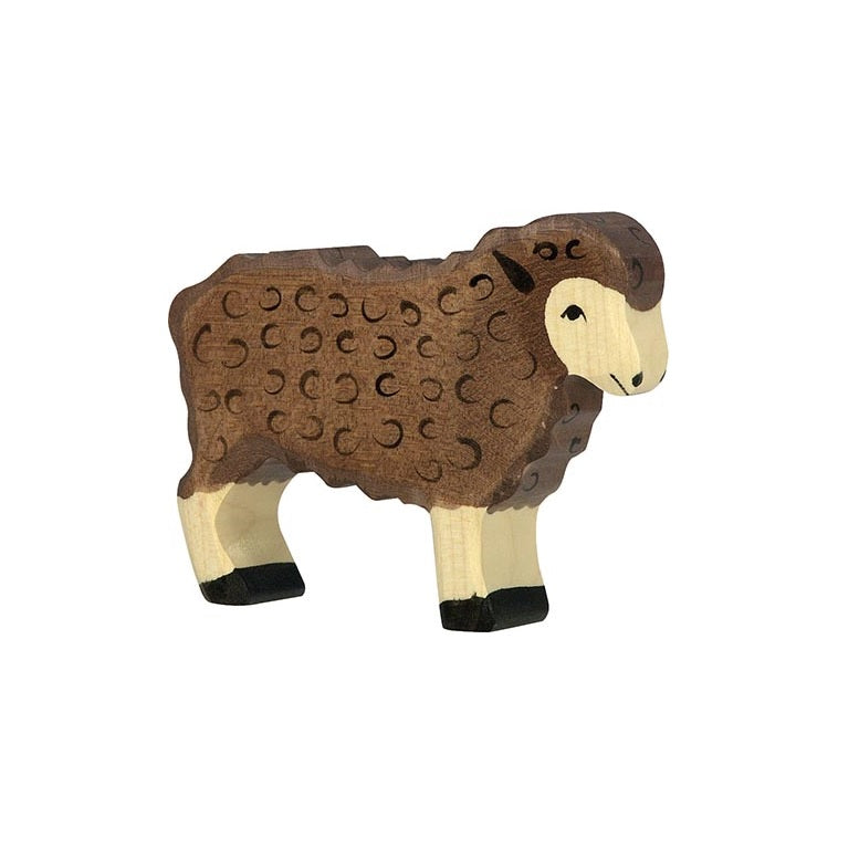 Black Standing Sheep Wooden Figure by Holztiger