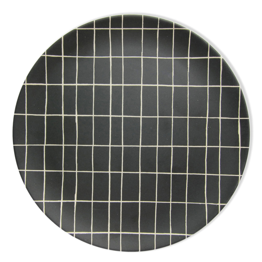Black Grid Bamboo Plate