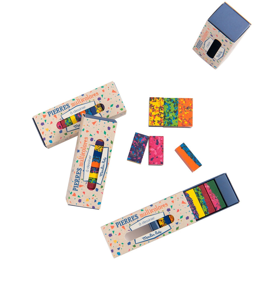 Box of 6 Multi Coloured Crayon Blocks