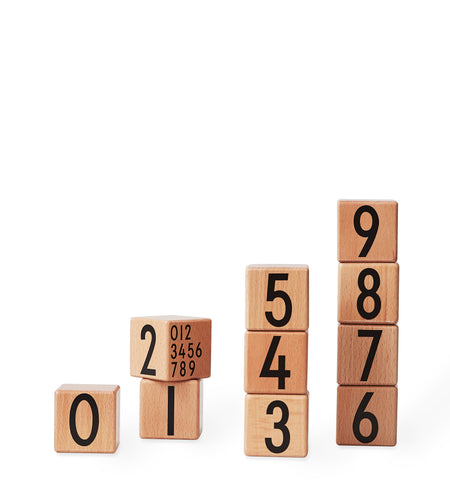 Wooden Number Blocks in Natual by Design Letters