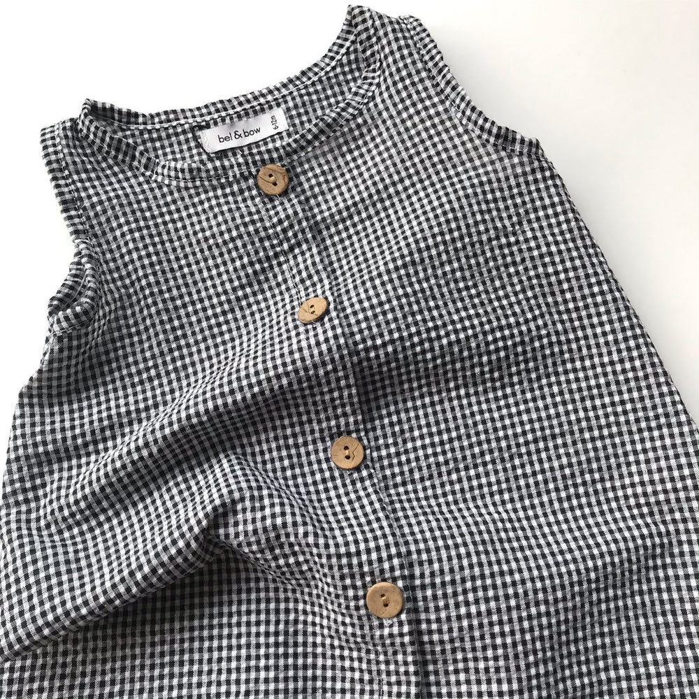 Load image into Gallery viewer, Seersucker Romper - Black & White Gingham by bel & bow