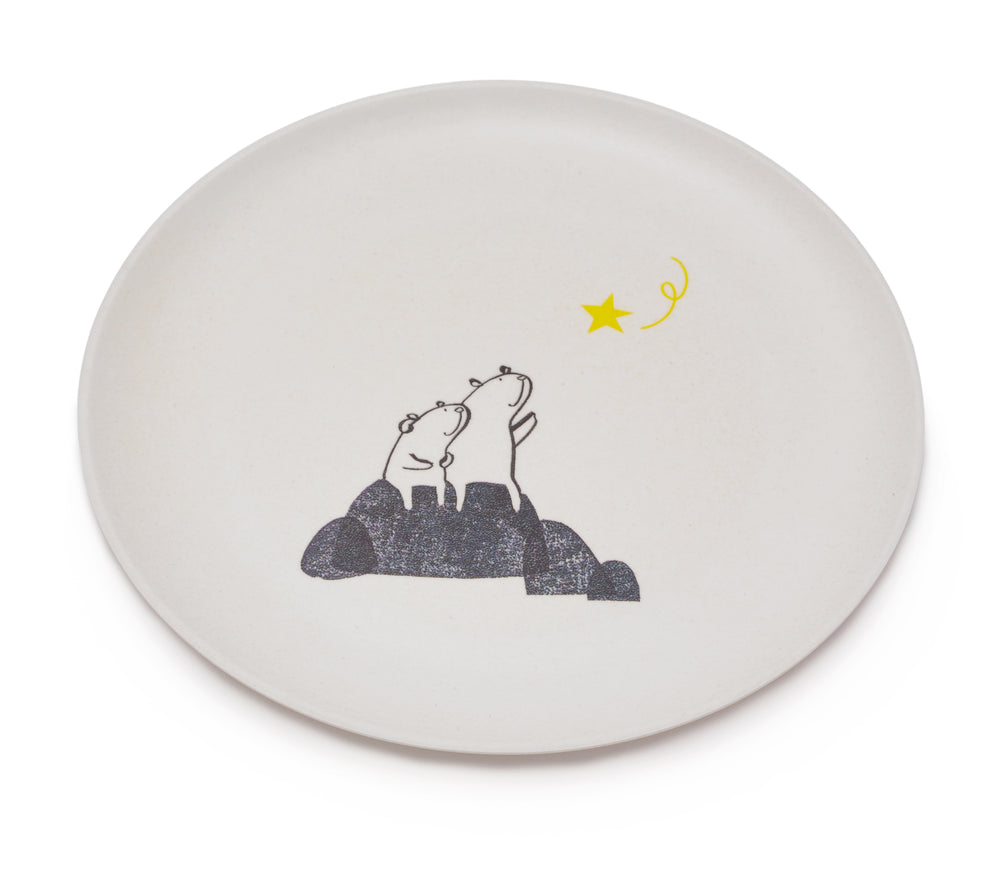 Bears Wishing on a Star Bamboo Plate by Fable ILLUSTRATED COLLECTION