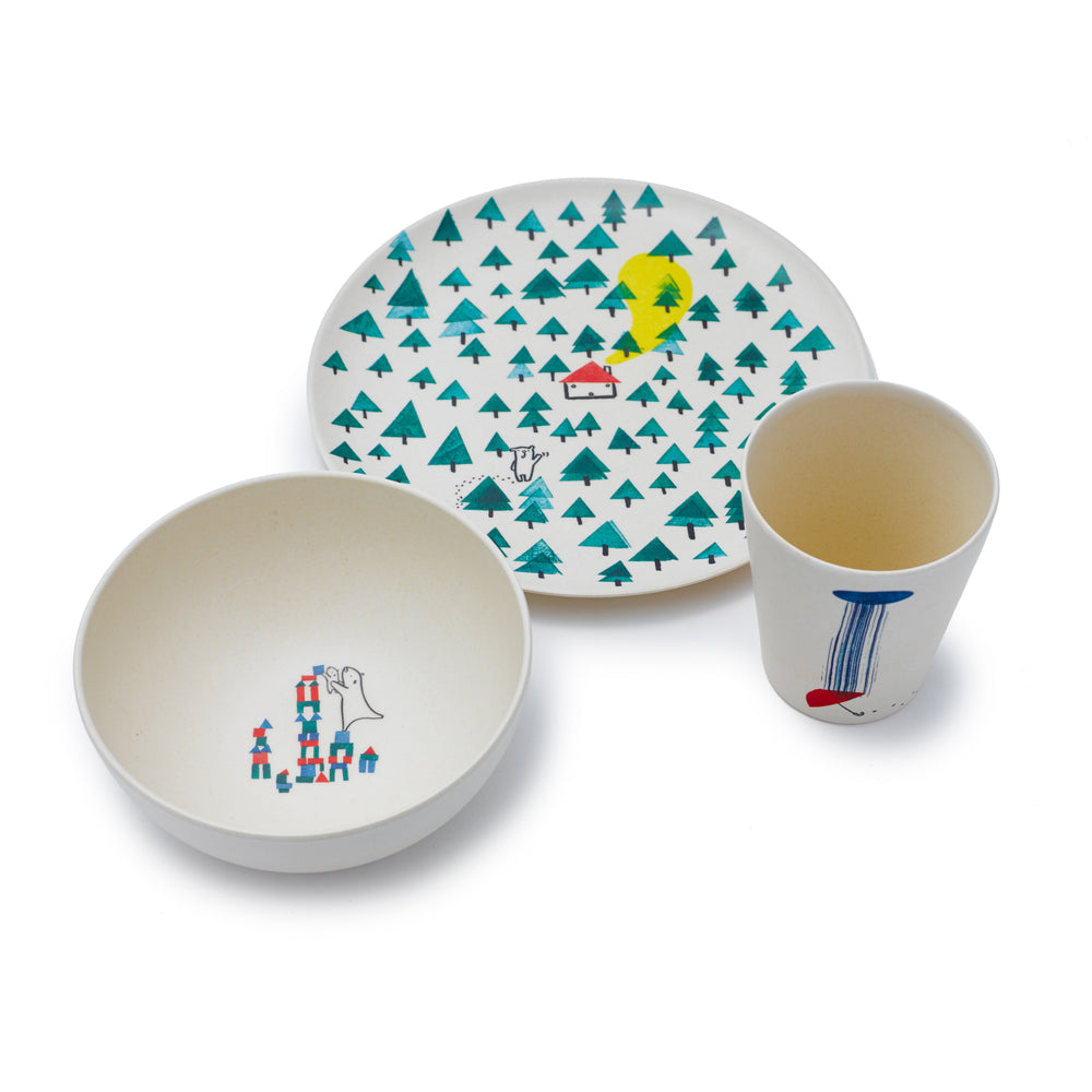 Bear Bamboo Dinner Set by Fable ILLUSTRATED COLLECTION