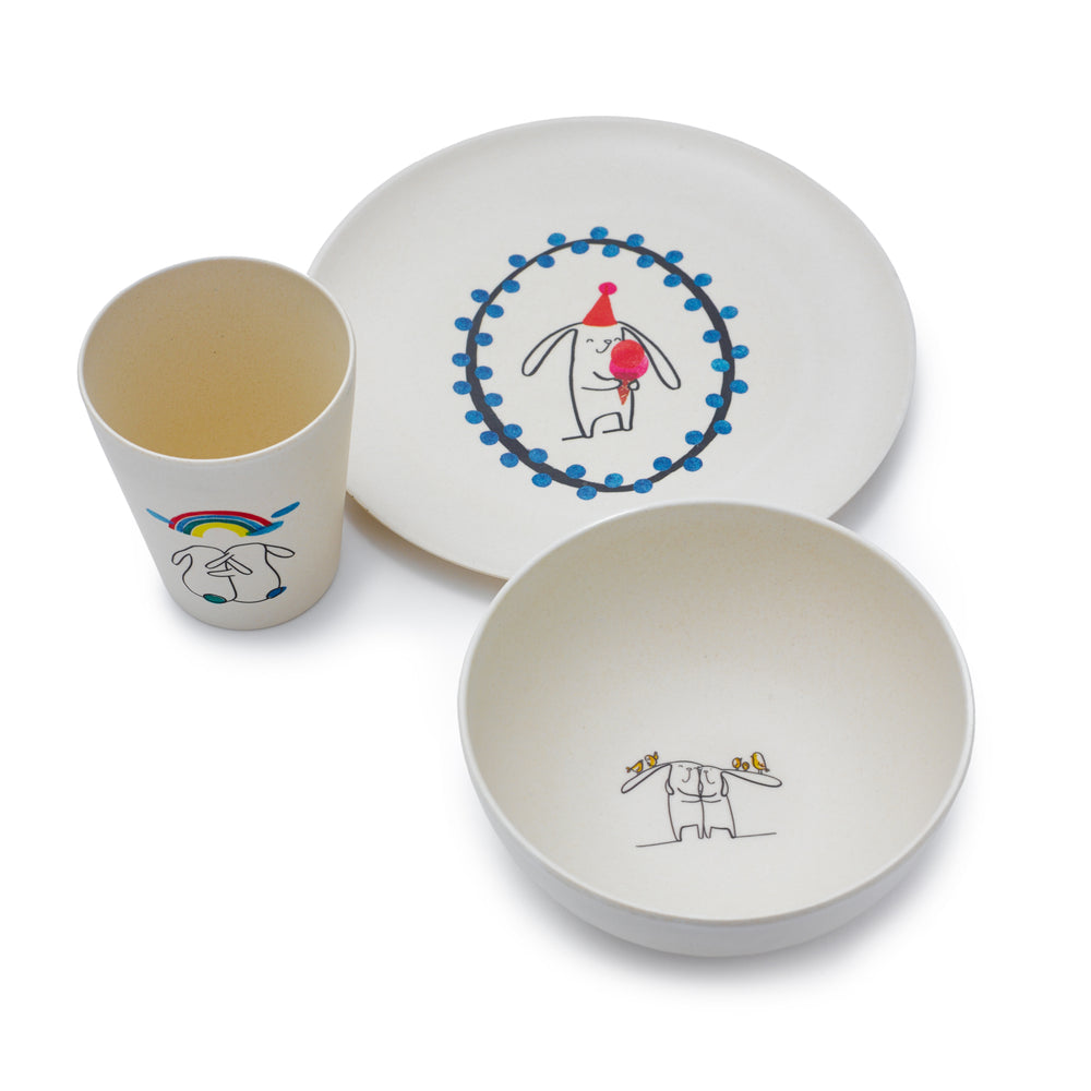 Bunny Bamboo Dinner Set by Fable ILLUSTRATED COLLECTION