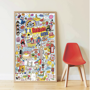 Giant Activity Sticker Poster - 100% English with 85 Repositionable Stickers by Poppik