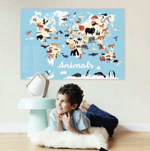 Giant Activity Sticker Poster - Animals of The World with 67 Repositionable Stickers by Poppik
