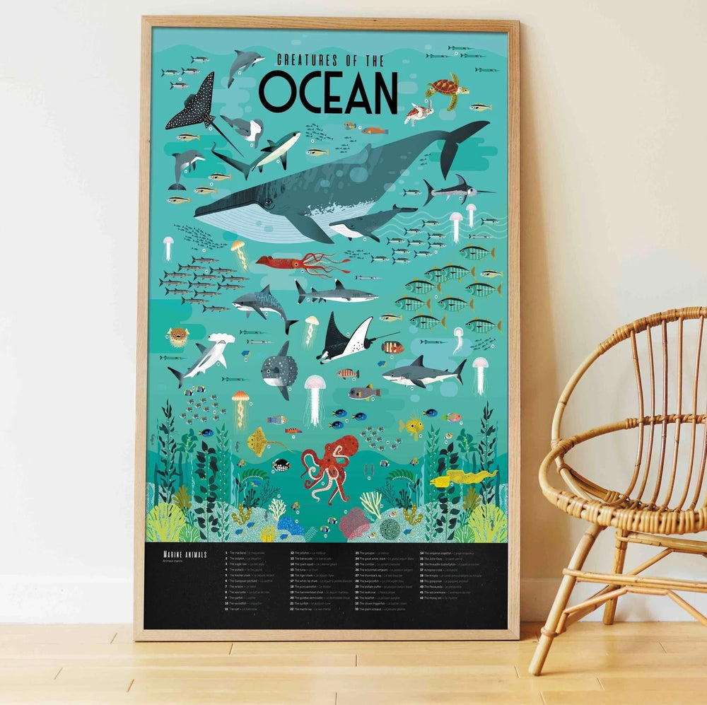 Giant Activity Sticker Poster - Oceans with 59 Repositionable Stickers by Poppik