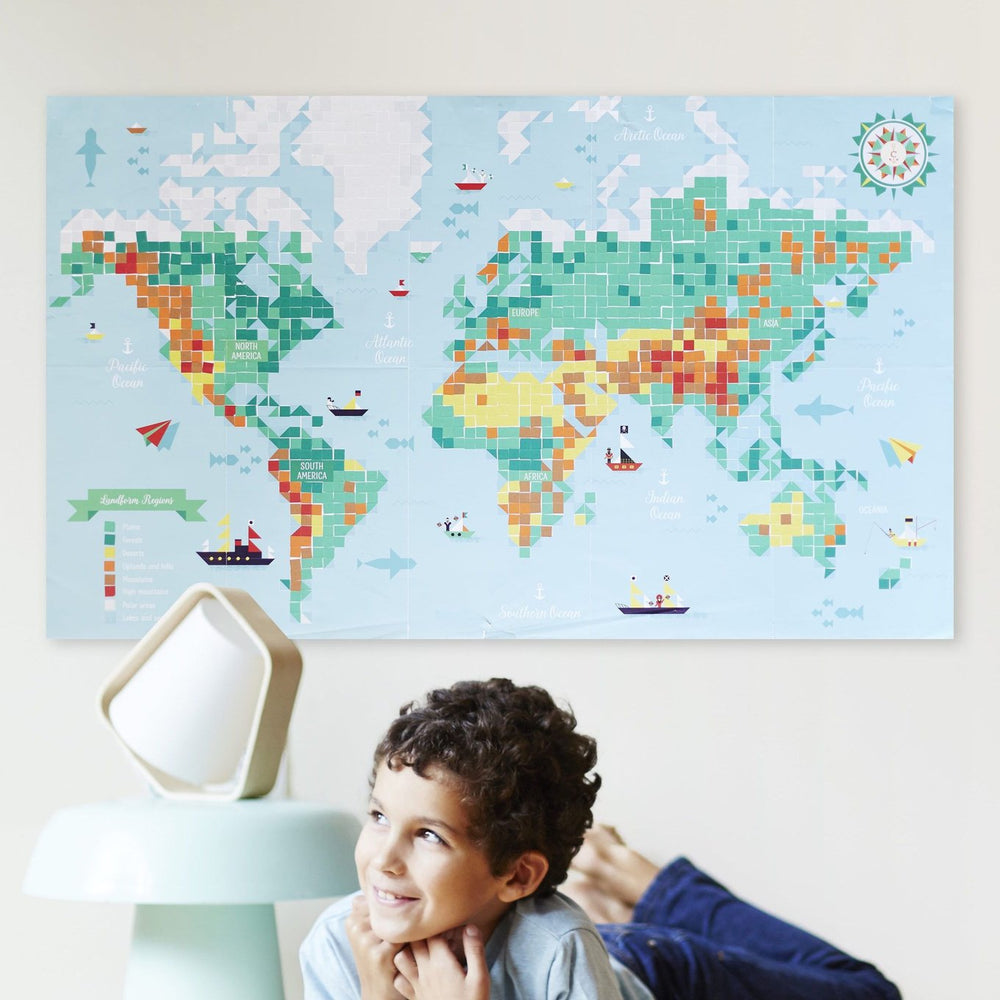 Giant Activity Sticker Poster - World Map with 1600 Repositionable Stickers by Poppik