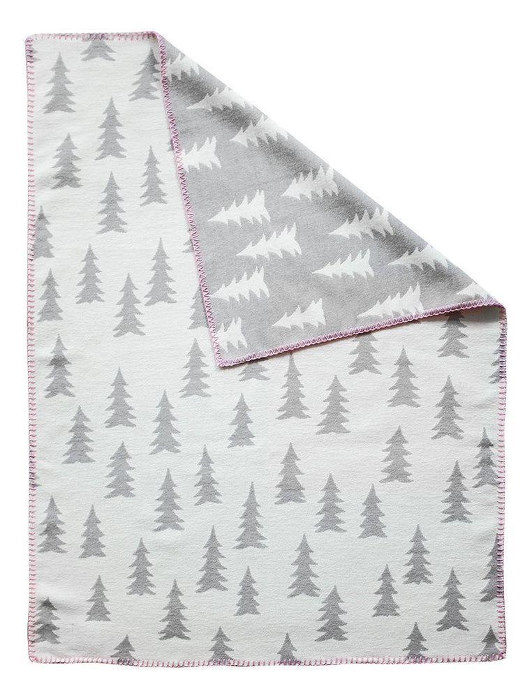 Fine Little Day Gran Woven Child Blanket | Grey/White with Pink Trim