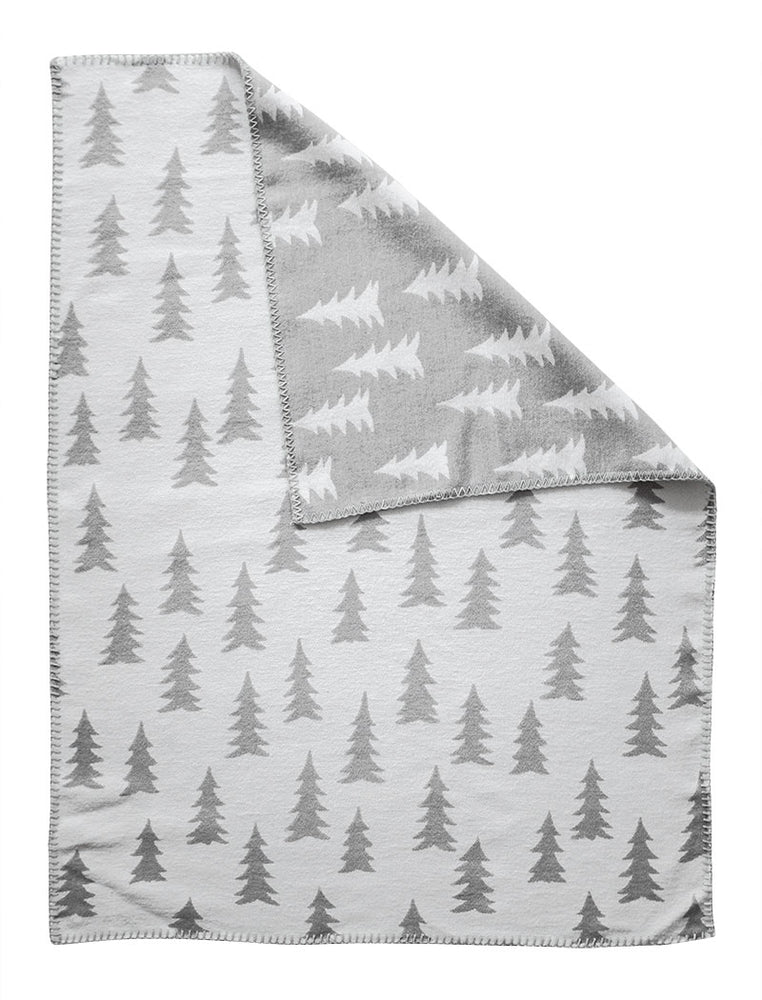 Gran Woven Child Blanket in Grey/White with White or Pink Trim by Fine Little Day