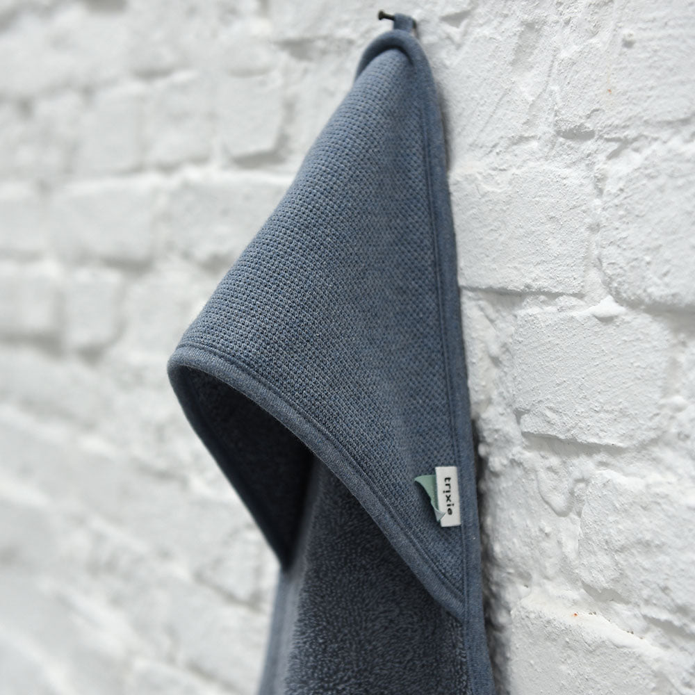 Organic Cotton Hooded Towel in Grain Blue by Trixie