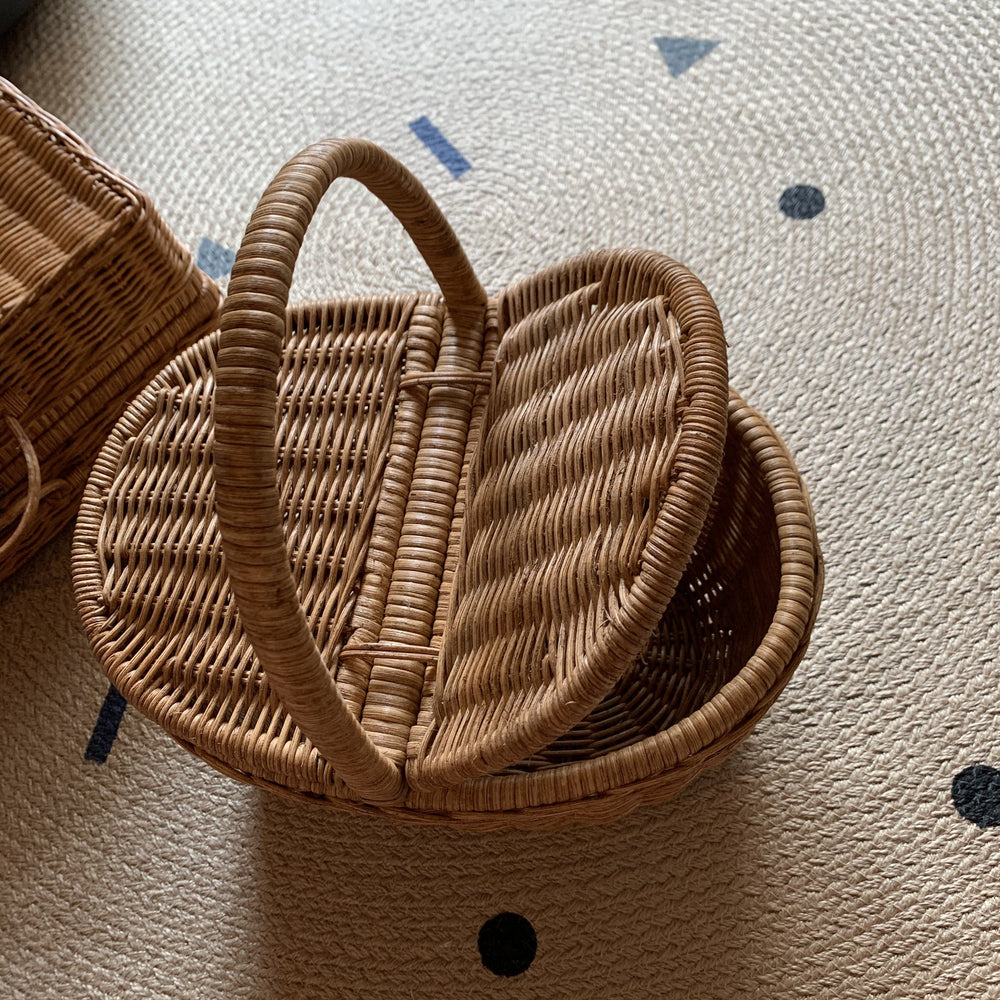 Handwoven Rattan Oval Picnic Basket in Natural