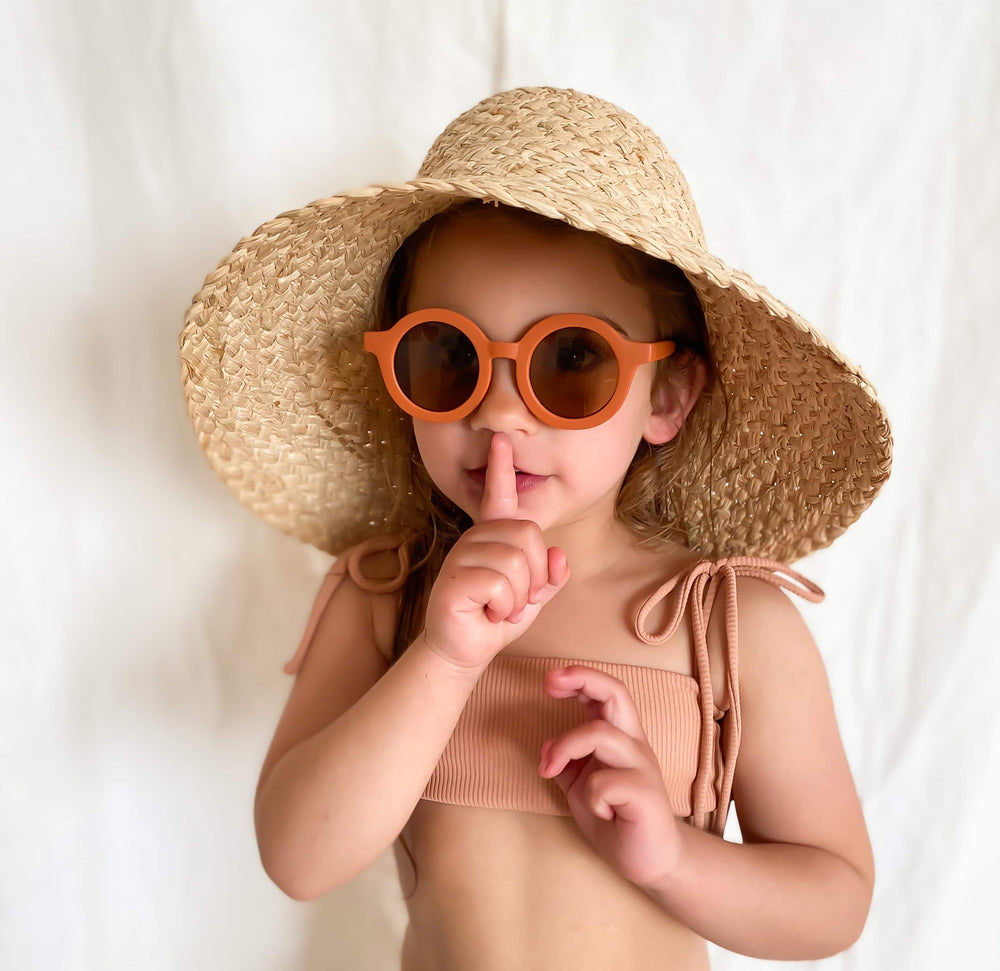 Sustainable Kids Sunglasses with Matte Finish in Rust by Grech & Co.