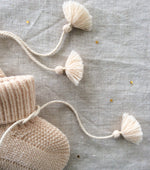 Knitted Booties with Embroidered Pouch - Off White