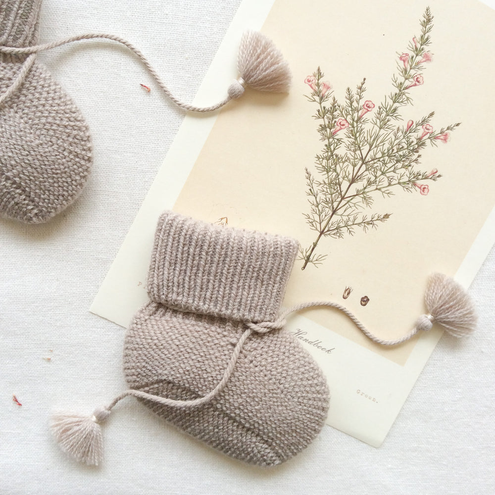 Knitted Booties with Embroidered Pouch - Taupe